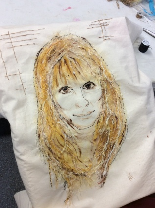 Work in progress by members of the Cork Textiles Network. See the finished portraits at the Knitting & Stitching shows 2018