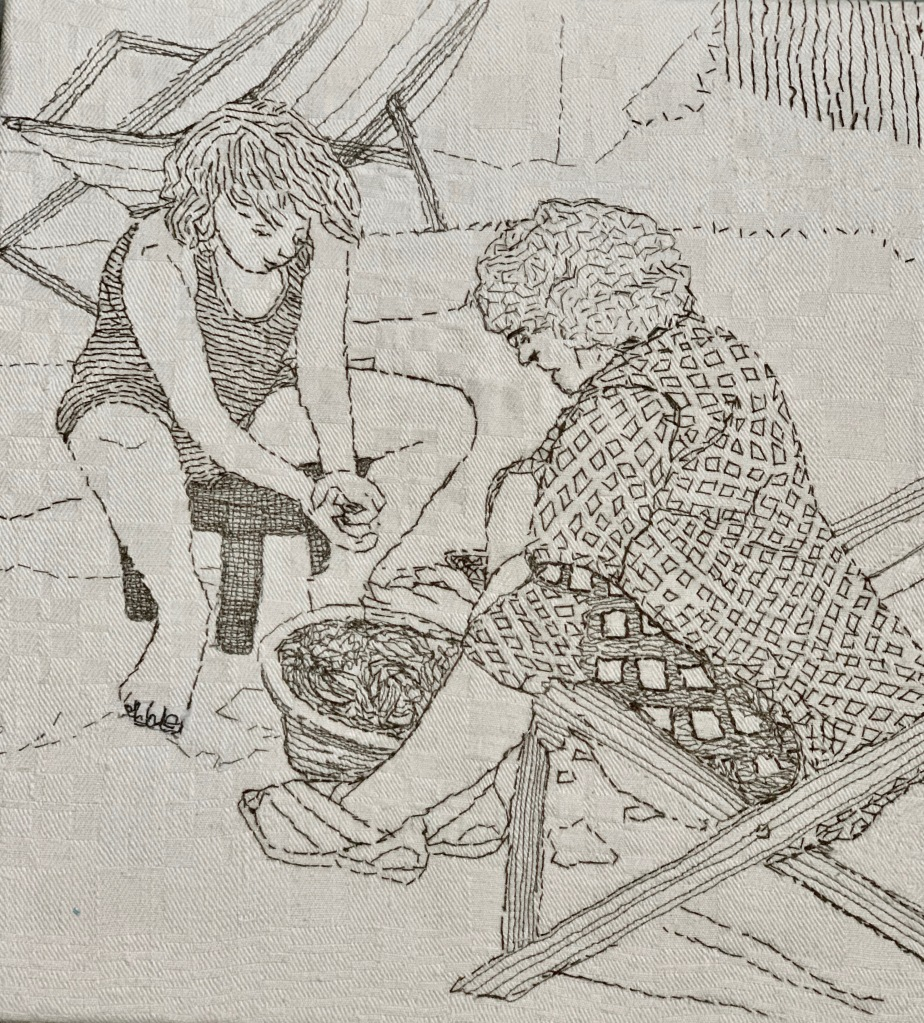 Podding Peas with Nan hand / machine stitch